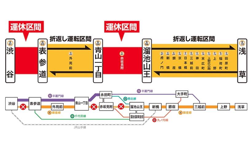 銀座線渋谷駅改良工事により一部区間で運休